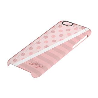 かわいらしいピンクの水玉模様はモノグラムと縞で飾り、 クリアiPhone 6/6Sケース