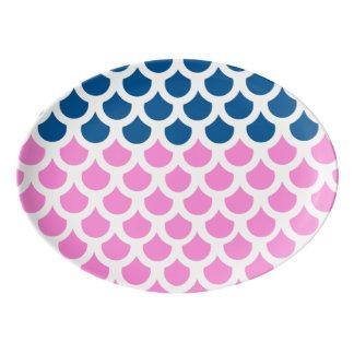 かわいらしいピンクの深海の魚スケール2 磁器大皿