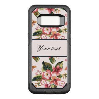 かわいらしいピンクの熱帯花模様 オッターボックスコミューターSamsung GALAXY S8 ケース