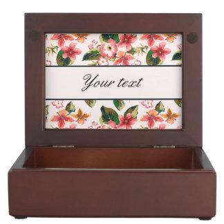 かわいらしいピンクの熱帯花模様 ジュエリーボックス