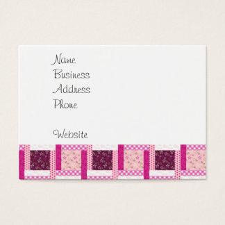 かわいらしいピンクの紫色のパッチワークキルトのデザインのギフト 名刺