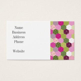 かわいらしいピンクの緑のクワのパッチワークキルトのデザイン 名刺