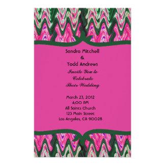 かわいらしいピンクの緑のモダンな結婚式 便箋