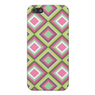 かわいらしいピンクの緑の灰色のダイヤモンドの正方形パターン iPhone 5 COVER