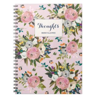 かわいらしいピンクの花の庭の名前入りなノート ノートブック