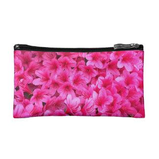 かわいらしいピンクの花の構造の場合 コスメティックバッグ