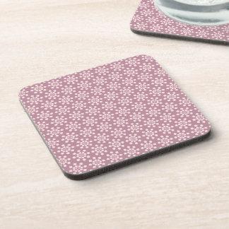 かわいらしいピンクの花模様 コースター