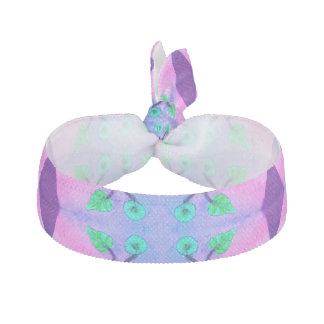 かわいらしいピンクの青い花の抽象芸術 ヘアタイ リボン