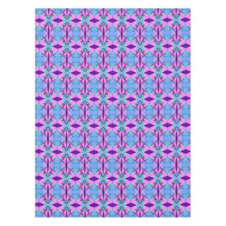 かわいらしいピンクの青い花柄の抽象芸術パターンデザイン テーブルクロス