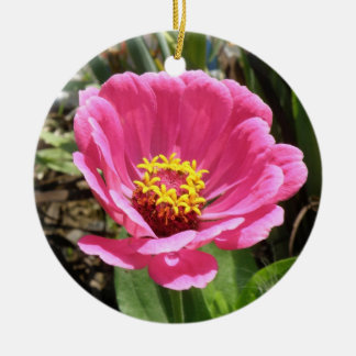 かわいらしいピンクの《植物》百日草のカスタムの誕生日 陶器製丸型オーナメント