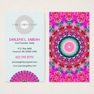 かわいらしいピンクのBohoの曼荼羅の万華鏡のように千変万化するパターン 名刺