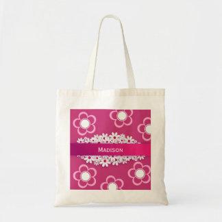 かわいらしいピンク及びガーリーなw/Daisies トートバッグ