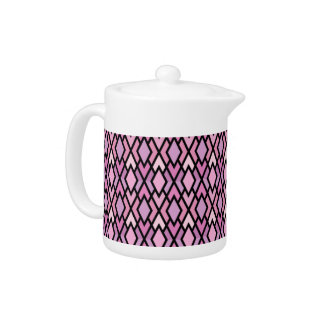 かわいらしいピンク及び薄紫のダイヤモンドの茶ポット