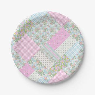かわいらしいピンク犬バラの模造のなパッチワークの紙皿 ペーパープレート