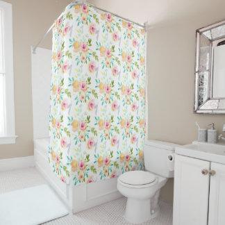 かわいらしいピンク、モモおよび黄色い水彩画の花柄 シャワーカーテン
