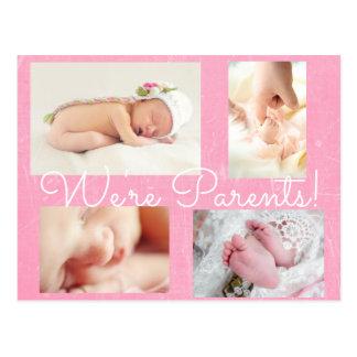 """かわいらしいピンク""""私達は親""""誕生の発表です ポストカード"""