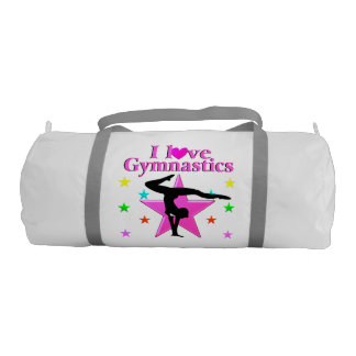 かわいらしいピンクI愛体操のデザイン ジムバッグ