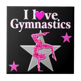 かわいらしいピンクI愛体操のデザイン タイル