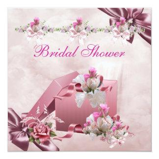 かわいらしいブライダルシャワーの白いピンクのギフトの花柄は上がりました カード