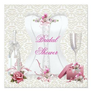 かわいらしいブライダルシャワーの白いピンクのコルセットの花柄 カード