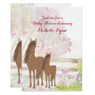 かわいらしいブラウンの馬および花のベビーシャワーの招待 12.7 X 17.8 インビテーションカード