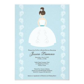 かわいらしいブルネットのブライダルシャワー招待状 カード