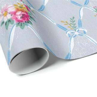 かわいらしいブルーリボンのばら色の花のヴィンテージの壁紙 ラッピングペーパー