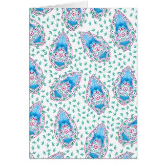 かわいらしいペイズリーの水彩画パターン グリーティングカード