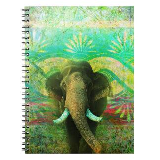 かわいらしいボヘミア象のターコイズの種族パターン ノートブック