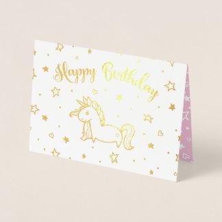 かわいらしいユニコーンの金ゴールド及びピンクのハッピーバースデー 箔カード