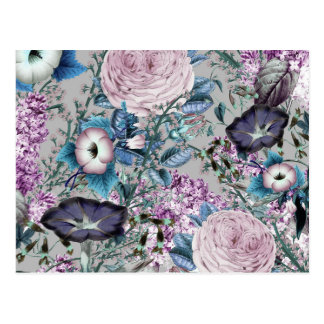 かわいらしいラベンダーの植物の花パターン ポストカード