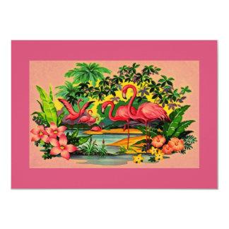 かわいらしいレトロのフラミンゴのプールのパーティの招待状 カード