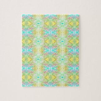 かわいらしいレモンライムの青いパステル調の種族パターン ジグソーパズル