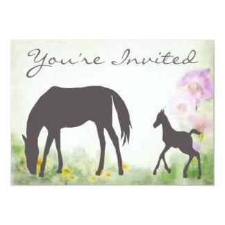 かわいらしいロバおよび子馬の馬のベビーシャワーの招待状 12.7 X 17.8 インビテーションカード