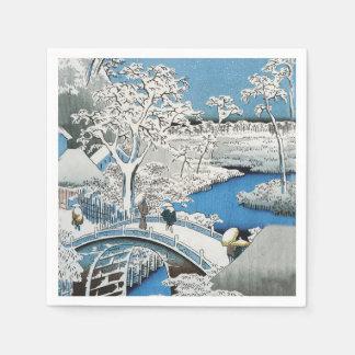 かわいらしいヴィンテージのアジア冬場面雪橋 スタンダードカクテルナプキン