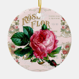 かわいらしいヴィンテージのピンクのバラのパリの原稿 セラミックオーナメント