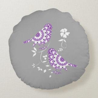 かわいらしいヴィンテージの刺激を受けたな紫色のパターン(の模様が)あるな鳥 ラウンドクッション