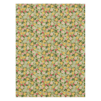 かわいらしいヴィンテージの国の花のガーリーなばら色パターン テーブルクロス