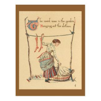 かわいらしいヴィンテージの女性 ポストカード