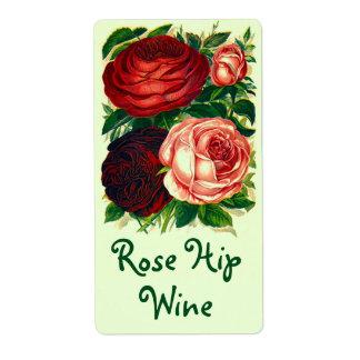 かわいらしいヴィンテージの家宝はワインをバラの実のバラと分類します 発送ラベル