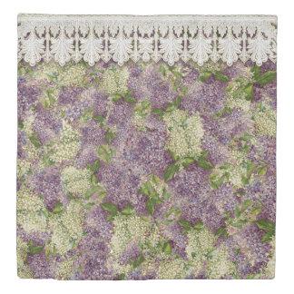 かわいらしいヴィンテージの寝室の装飾のライラックnのレースの花柄 掛け布団カバー