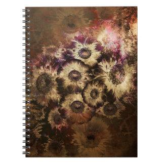かわいらしいヴィンテージの秋のヒマワリの花束 ノートブック