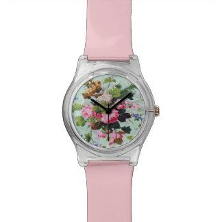 かわいらしいヴィンテージの花 腕時計