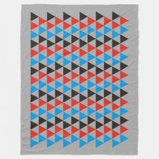 かわいらしい三角形パターン黒の赤い青 + あなたのアイディア フリースブランケット