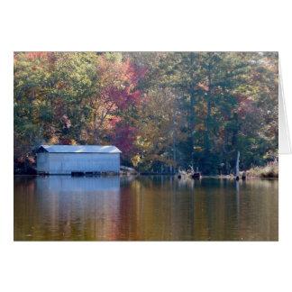 かわいらしい反射-水によるボートハウス カード