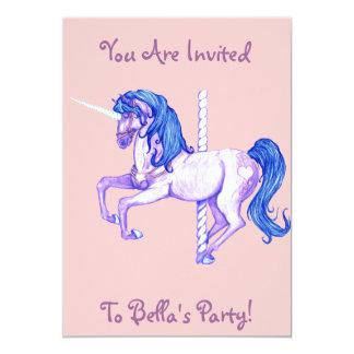かわいらしい回転木馬のユニコーンの招待状 カード