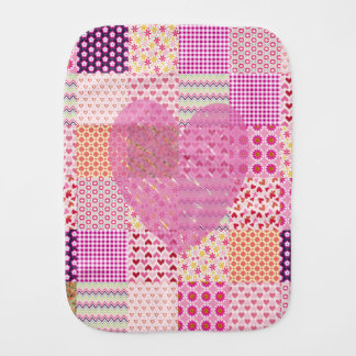 かわいらしい国スタイルのピンクのパッチワークのハートのギンガム バープクロス