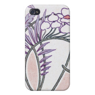 かわいらしい夏の花のアールヌーボーのデザイン iPhone 4 COVER