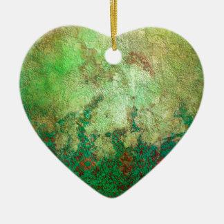 かわいらしい大理石模様をつけられた緑および錆のグランジなパターン セラミックオーナメント