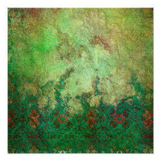 かわいらしい大理石模様をつけられた緑および錆のグランジなパターン ポスター